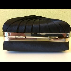 Bags - Small black satin purse with a twist in the fabric